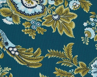1 YARD - Amy Butler Fabric, Royal Garden Turquoise Blue, Belle Collection, Bird - SALE