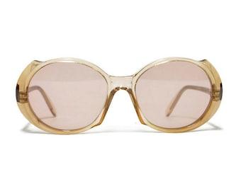70s Deadstock PIERRE BALMAIN vintage sunglasses, French designer eyewear, round womens sunglasses in unworn condition with new lenses.