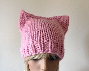 Pink Pussyhat, Pussy hat, SALE, Women's March, Vegan friendly options, kitty