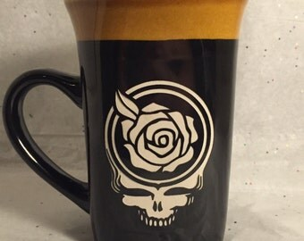 Grateful Dead Etched Coffee or Tea Mug featuring a Steal Your Face Rose