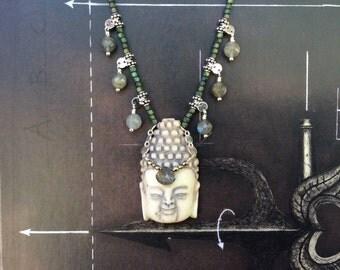buddha necklace seed bead necklace yoga style boho jewelry sterling silver  pyrite labradorite