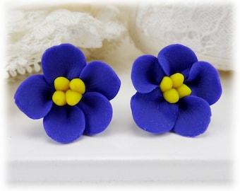 Purple African Violet Earrings Stud or Clip On - African Violet Jewelry, African Violet Flowers