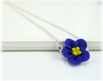 Tiny Purple African Violet Necklace - African Violet Jewelry, African Violet Flowers