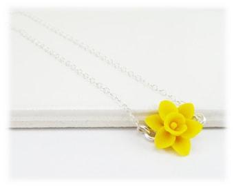 Tiny Daffodil Necklace - Daffodil Jewelry, March Birthday Birth Flower, Spring Flower Jewelry