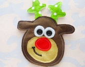 Holiday Reindeer Sewn Fabric Applique