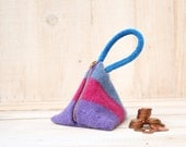 Triangle Pouch in Pink Purple and Grey Stripes