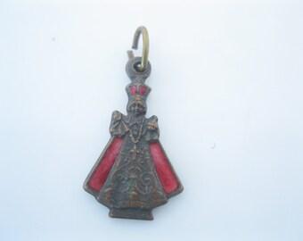 Vintage Enamel Infant of prague religious medal