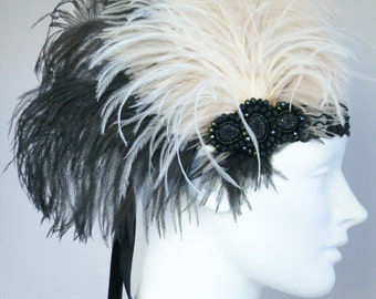 Cotton Club Flapper Headband Ivory, Black, Champagne Ostich Feathers, Gatsby, Costume, Roaring 20's