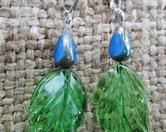 Handmade Czech Blue Teardrop Beads And Pressed Glass Leaves Pierced Earrings, Handmade By Susan Every OOAK