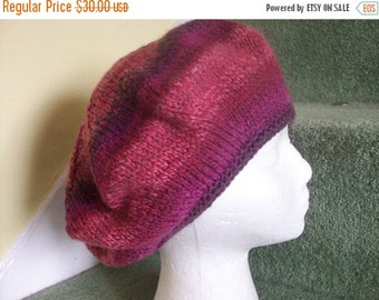 JULY SALE Slouchy beret big hair hat hand knitted wool blackcurrant purple