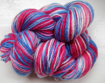 Sock yarn, hand dyed wool, hand painted, patriotic red, white and blue 100g by SpinningStreak