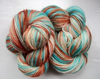 Sock yarn, hand dyed wool, hand painted, turquoise blue, brown 100g by SpinningStreak