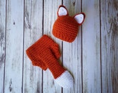 Crochet Baby Fox Outfit - Baby Fox Set - Fox Hat - Baby animal hat - newborn photo prop - character hat - crochet baby outfit - Costume
