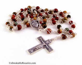 Rosary Beads Sacred Heart of Jesus In Red Creek Jasper With Florentine Crucifix by Unbreakable Rosaries