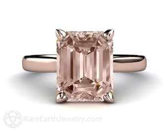 Morganite Ring Solitaire Morganite Engagement Ring Emerald Solitaire 14K or 18K White Yellow Rose Gold