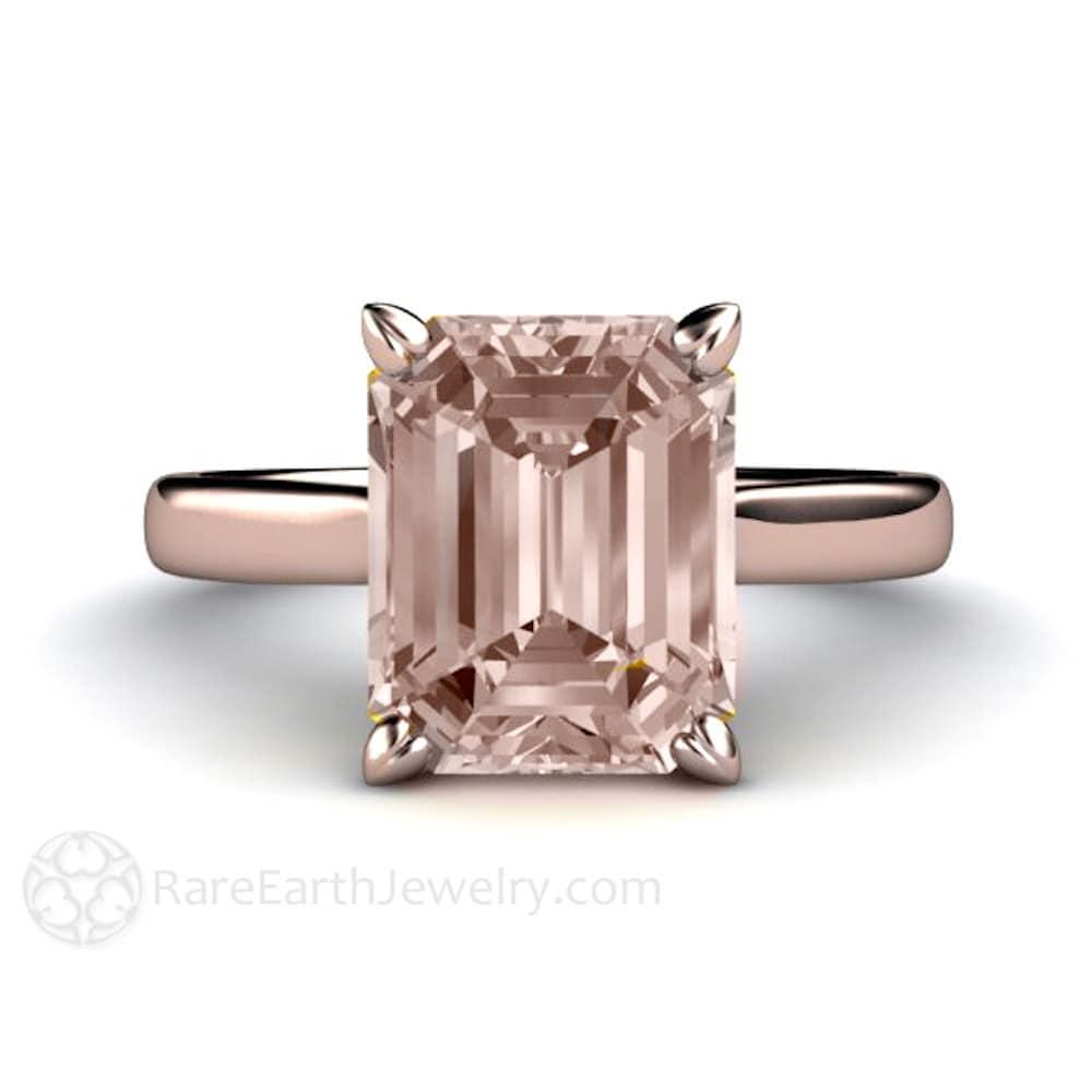 Morganite Ring Solitaire Morganite Engagement Ring Emerald