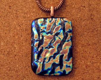 Dichroic Pendant - Fused Glass Pendant - Dichroic Jewelry - Fused Glass Jewelry - Dichroic Necklace - Glass Pendant - Copper Pendant