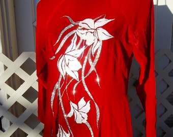 vintage Cheongsam Red Velvet Holiday Cutie silk velvet with Embellishments Glittery goodness sz S Petite 28 waist 34 bust
