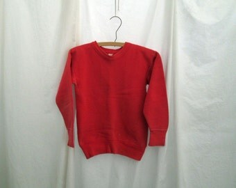 "50s Sweatshirt Red Childs sweatshirt Vintage Penney's distressed sweatshirt Wide 3"" ribbing Faded Cotton vintage Sweatshirt S M"