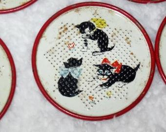 Vintage Tin Coasters = 5 Tin Coasters with Kittens