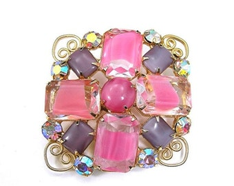 Pink Givre Glass Brooch with Lavender Glass and AB Rhinestones, Openback Prongset Stones, Vintage 1960s Spring / Easter Costume Jewelry