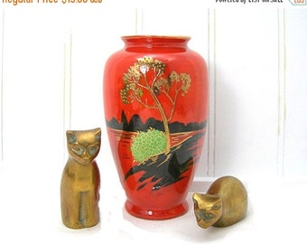 """Vintage Japanese Vase, 5"""" Tall, Orange with Scenic Design, TA Made in Japan, Gold Painted Tree"""