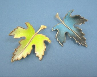 Maple Leaf Brooches, Enameled Metal, Fall Jewelry, Yellow on Goldtone, Blue on Silvertone, 3 D, Vintage 1970s Costume Jewelry