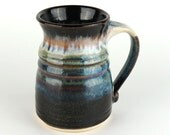 Stoneware Mug - 15 oz. - Coffee Cup - Black/brown, White