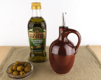 Olive Oil Bottle - 16 oz. -  Oil Dispenser / Oil Cruet - Brick Red