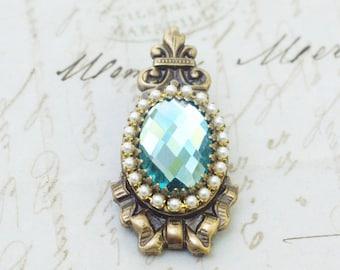 Antique crystal barrette regency Jane Austen Georgian aqua jewel brass bow pearl rhinestone antique elegant bridal something blue wedding