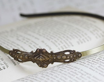 Victorian bridal brass headband vintage antique style ornate classic wedding hair accessory bronze