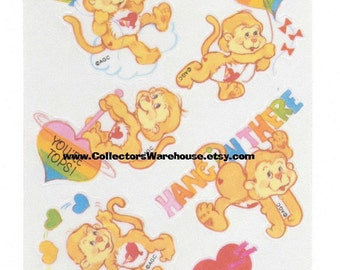 Care Bears Cousins Taffeta Playful Heart Monkey Sticker Sheet Vintage 80s AGC Satin Cloth stickers