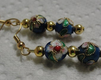 Floral And Goldtone Beaded Dangle PIerced Earrings