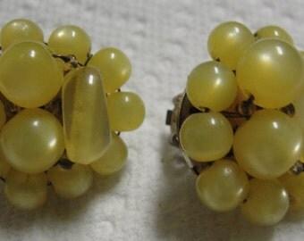 Vintage Yellow Beaded Clip Earrings