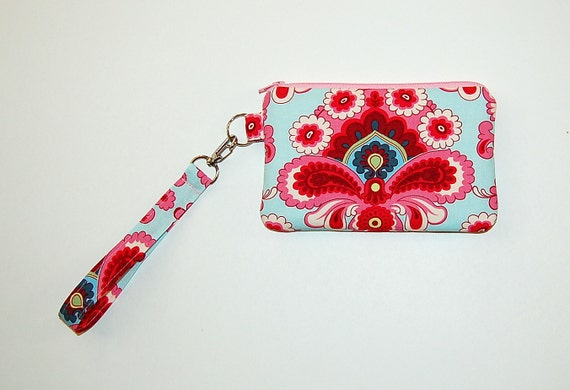 French Wallpaper Duck Egg - Wristlet Purse with Removable Strap and Interior Pocket
