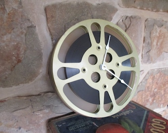 "Film Reel Clock - Repurposed and Upcycled Wall Clock - 10"" Diameter - Vintage Movie Reel"