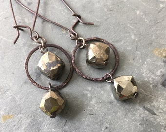 Pyrite Dangle Silver Earrings,  Modern Metal Earrings, Silver Geometric Earrings, Oxidized Metal Earrings, Circle and Square Earrings