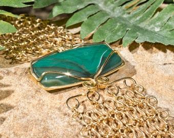 Green Agate Asymmetrical Wrap Bracelet - Gold Filled
