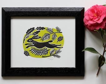 Spring Hare Print | Bunny Art | Rabbit Art | Folk Art | Linocut Hare Print | Wild Rabbit | Letterpress Print | Nursery Art | Baby Shower