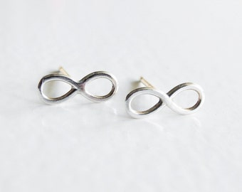 Infinity Earrings, Tiny Earrings, Sterling Silver Studs, Infinity Earring Studs, Minimal Earrings, Sterling Silver Hypoallergenic (E262)