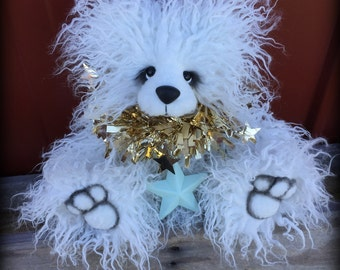 Snowball - Christmas Teddy KIT - make your own 12IN white curly faux fur artist bear