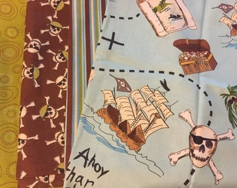 Pirate Ahoy Matey Scraps/Yardage Destash Assortment Lot Flat Rate Shipping Perfect For Quilt Making