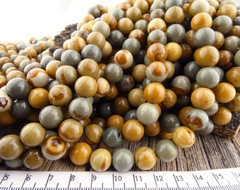 10mm Owyhee Picture Jasper Beads, Wild Horse Jasper Beads, Round Picture Jasper, Natural gemstones, Landscape Beads 10 mm, Large Beads