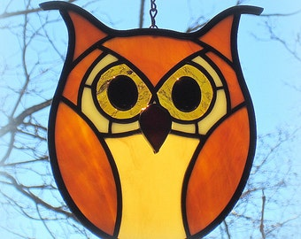 Stained Glass Golden Amber Hoot Owl Screech Owl Suncatcher