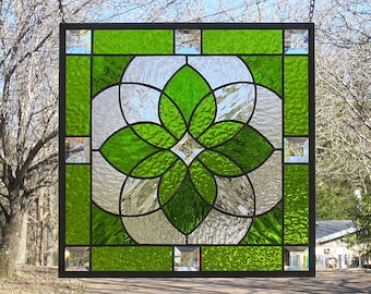 Moss Green Stained Glass Beveled Starburst Mandala Hanging Panel