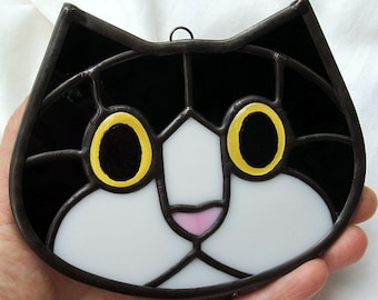 Stained Glass Tuxedo Cat Face Suncatcher with Golden Amber Eyes