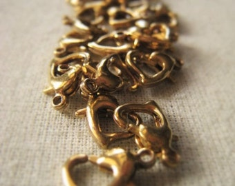 Gold Heart Clasp Brass Lobster Clasp Antique Gold Closure  Item No. 3099