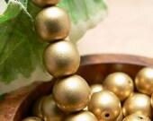 Matte Gold Czech Glass Beads Round Druk Metallic Antique Brass 8mm (30)