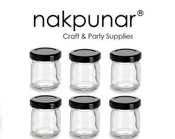 6 pcs 1.5 oz Straight Edge Glass Jars with Black Lid
