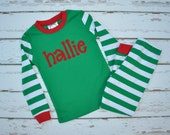 Green Stripe Christmas Pajamas- Christmas Personalized Pajamas - Christmas Monogram Boys PJs - Christmas Pjs - Christmas- JULIANNE ORIGINALS